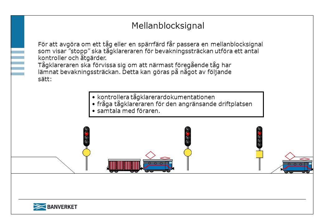 Mellanblocksignal För att avgöra om ett tåg eller en spärrfärd får passera en mellanblocksignal.