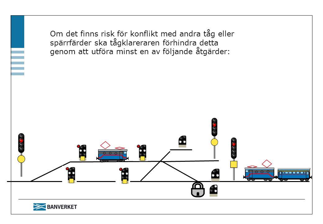 Om det finns risk för konflikt med andra tåg eller spärrfärder ska tågklareraren förhindra detta genom att utföra minst en av följande åtgärder: