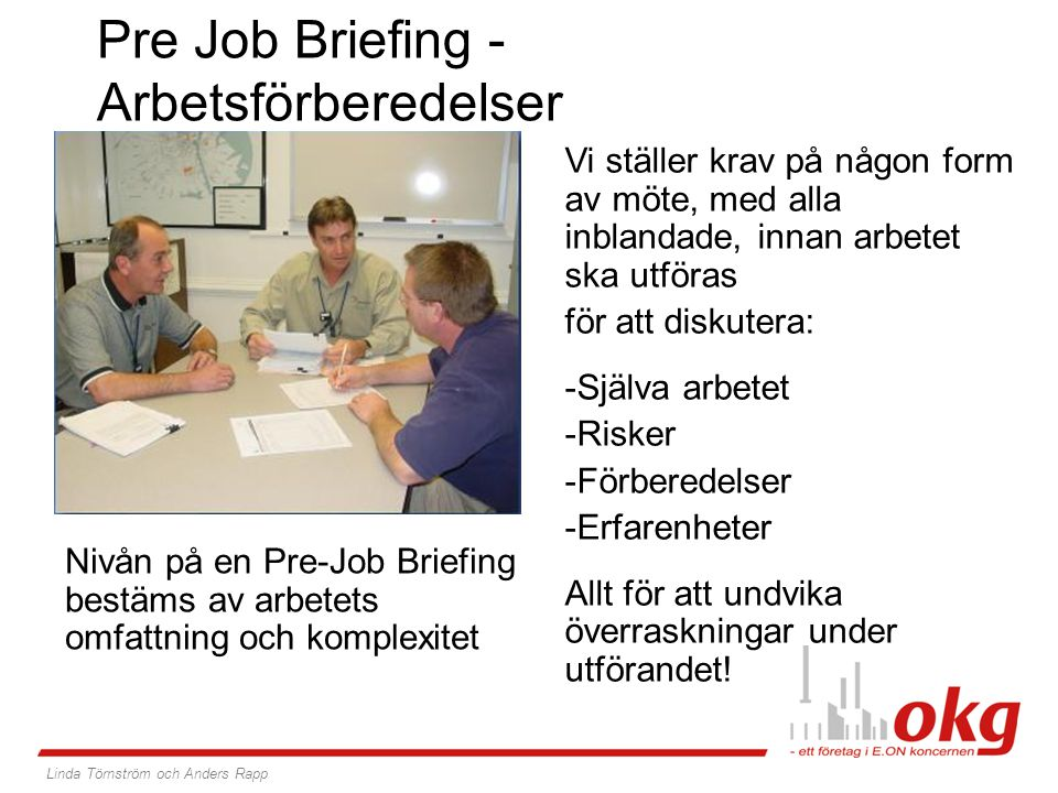 Pre Job Briefing -Arbetsförberedelser