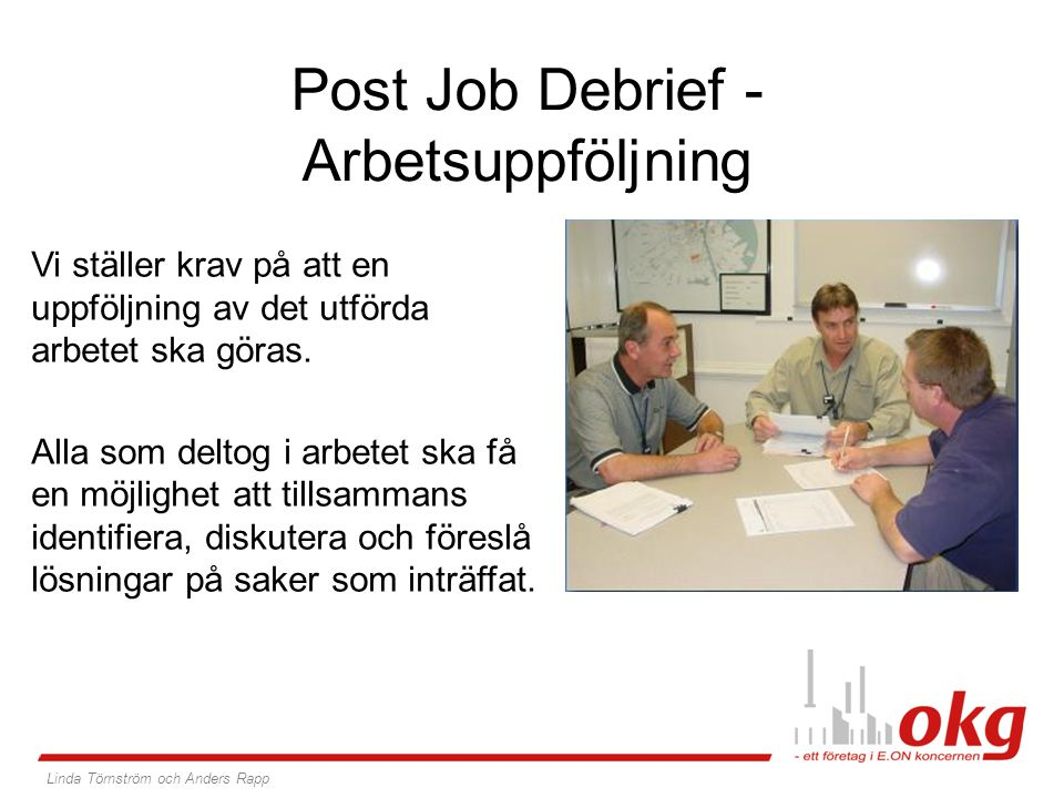 Post Job Debrief - Arbetsuppföljning