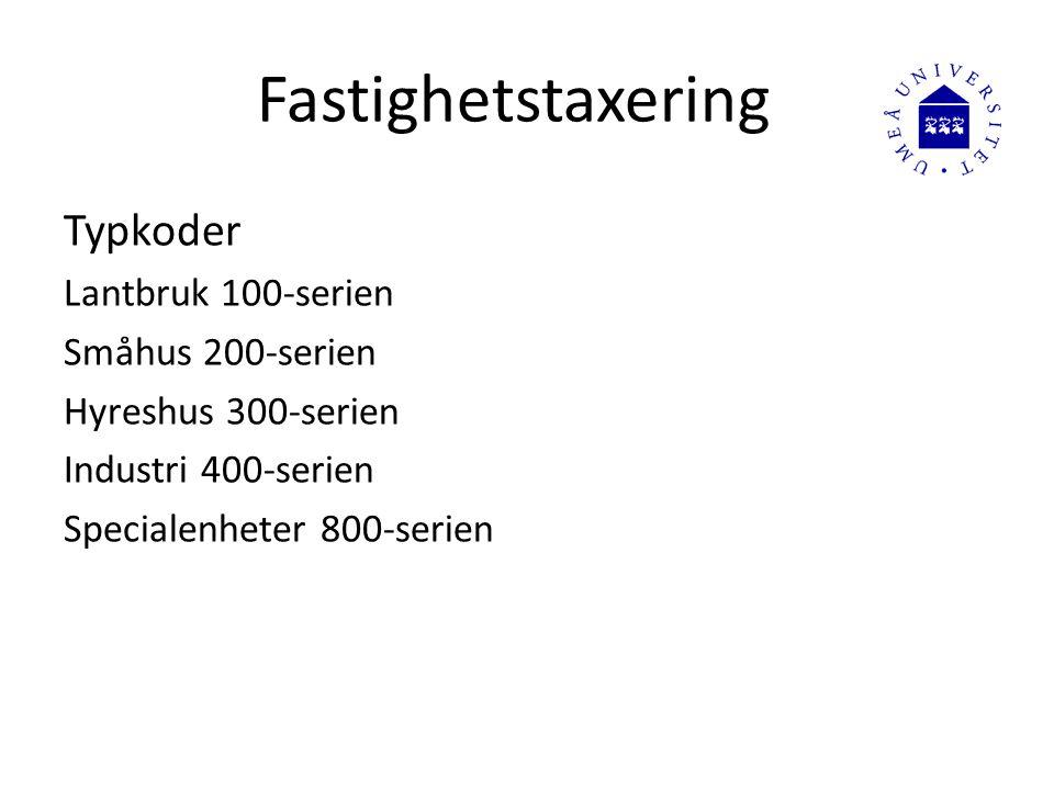Fastighetstaxering Typkoder Lantbruk 100-serien Småhus 200-serien