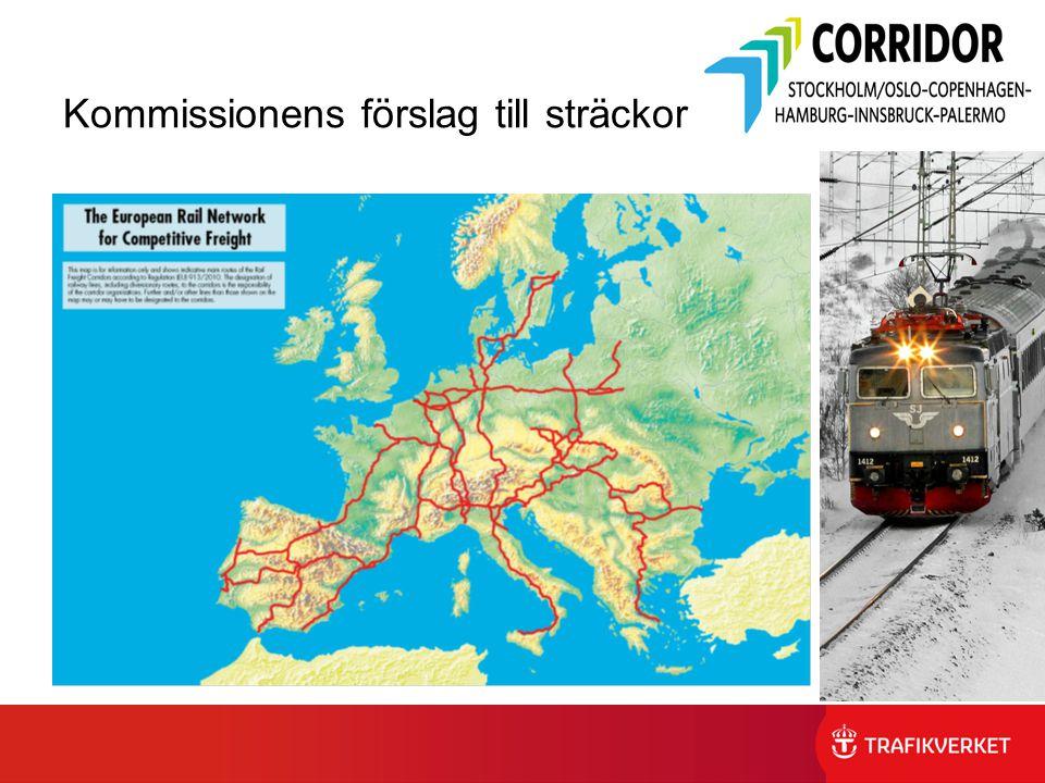 Kommissionens förslag till sträckor