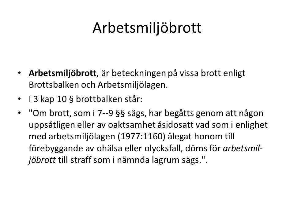 Arbetsmiljöbrott Arbetsmiljöbrott, är beteckningen på vissa brott enligt Brottsbalken och Arbetsmiljölagen.
