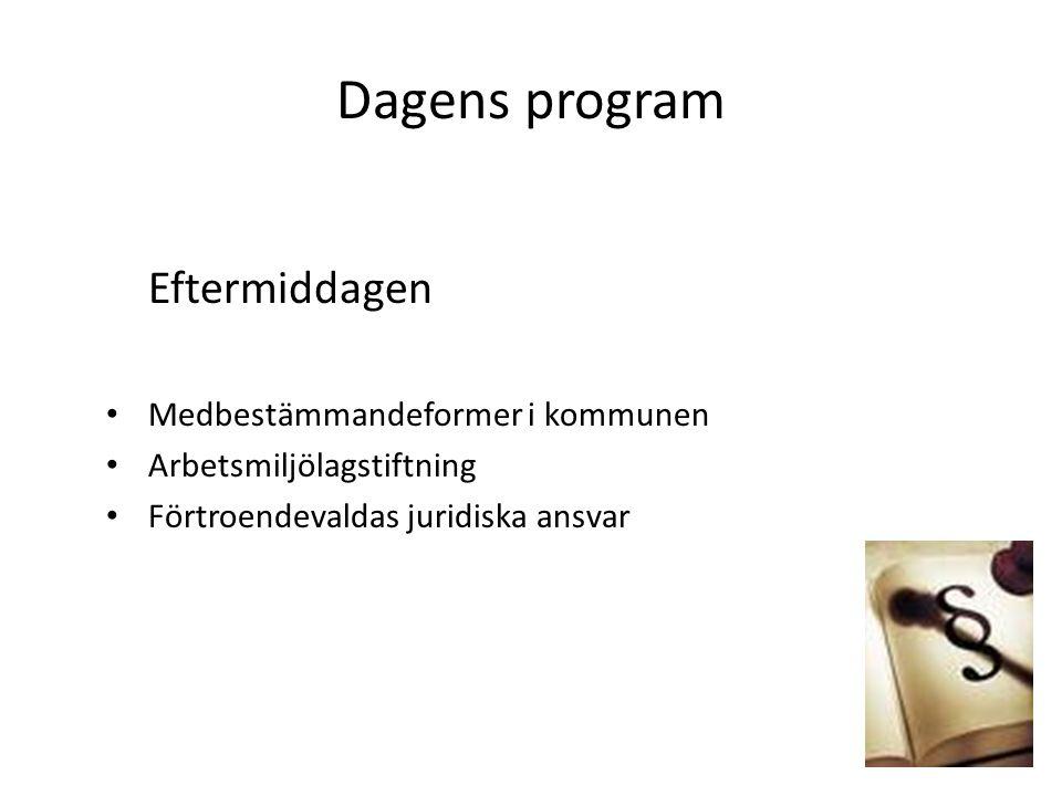 Dagens program Eftermiddagen Medbestämmandeformer i kommunen