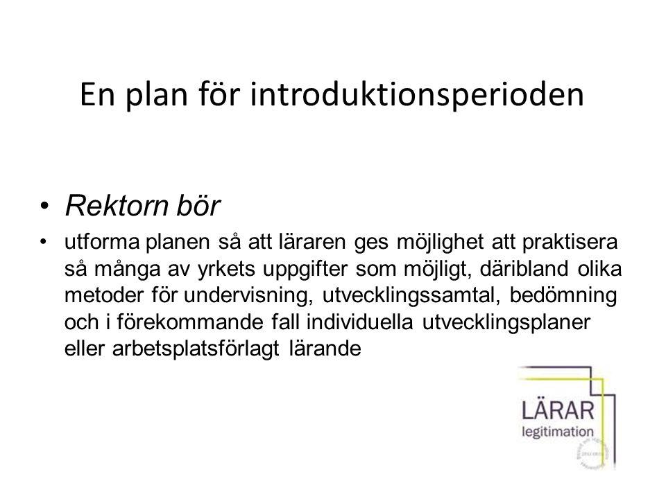 En plan för introduktionsperioden