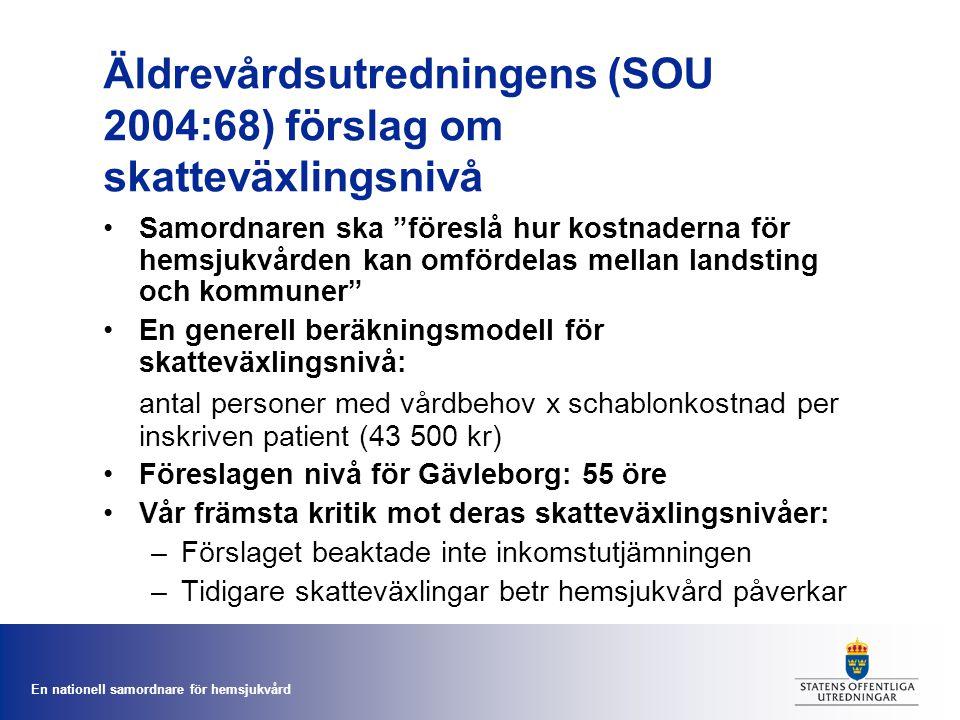 Äldrevårdsutredningens (SOU 2004:68) förslag om skatteväxlingsnivå