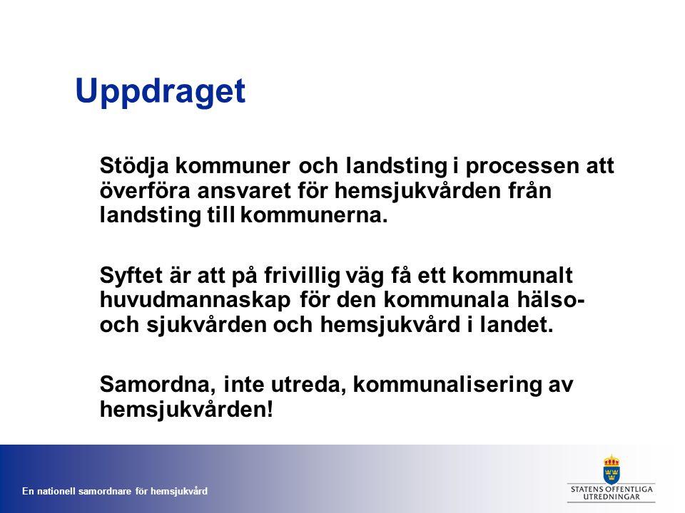 Uppdraget Stödja kommuner och landsting i processen att överföra ansvaret för hemsjukvården från landsting till kommunerna.