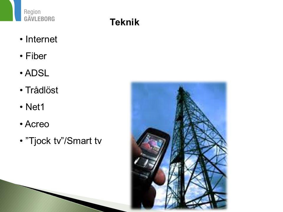 Teknik Internet Fiber ADSL Trådlöst Net1 Acreo Tjock tv /Smart tv