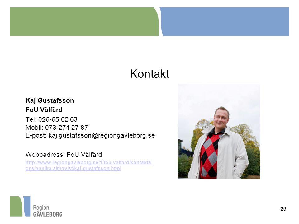 Kontakt Kaj Gustafsson FoU Välfärd
