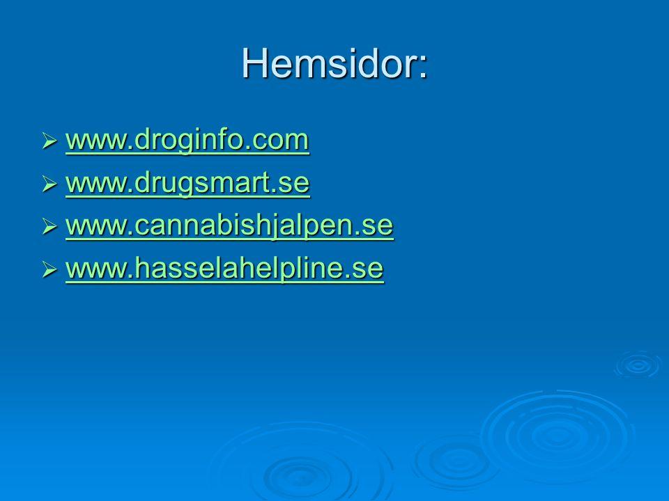 Hemsidor: www.droginfo.com www.drugsmart.se www.cannabishjalpen.se