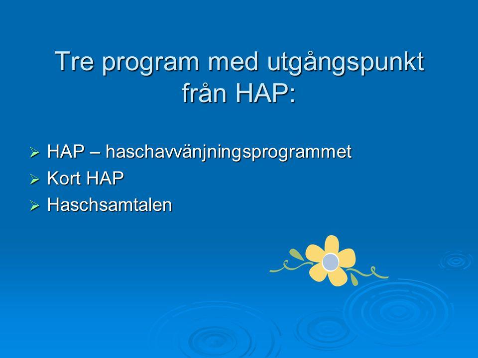 Tre program med utgångspunkt från HAP: