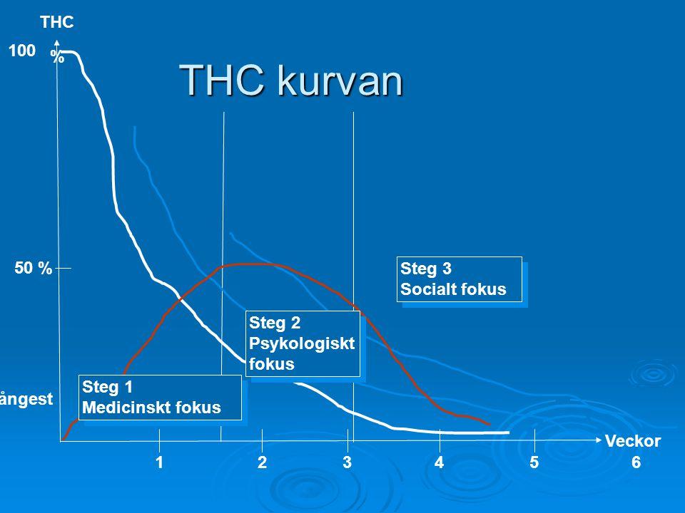 THC kurvan THC 100 % 50 % Steg 3 Socialt fokus Steg 2 Psykologiskt