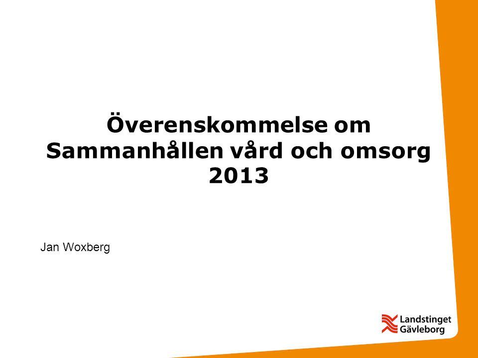 Överenskommelse om Sammanhållen vård och omsorg 2013
