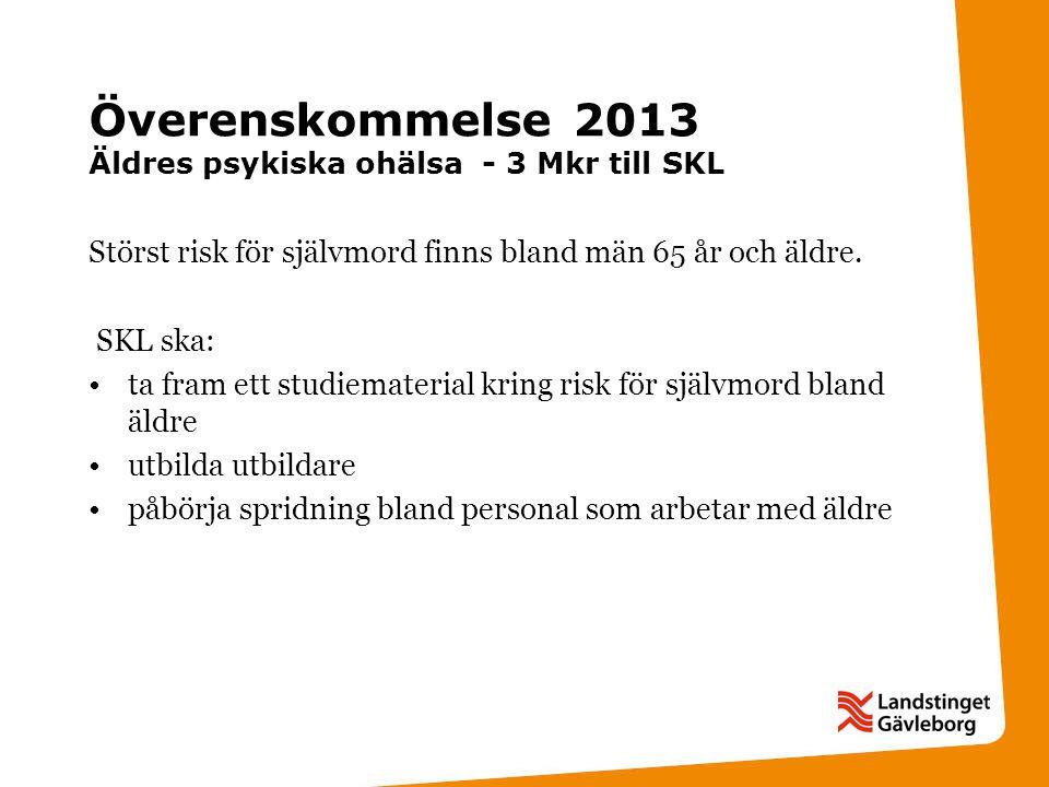 Överenskommelse 2013 Äldres psykiska ohälsa - 3 Mkr till SKL