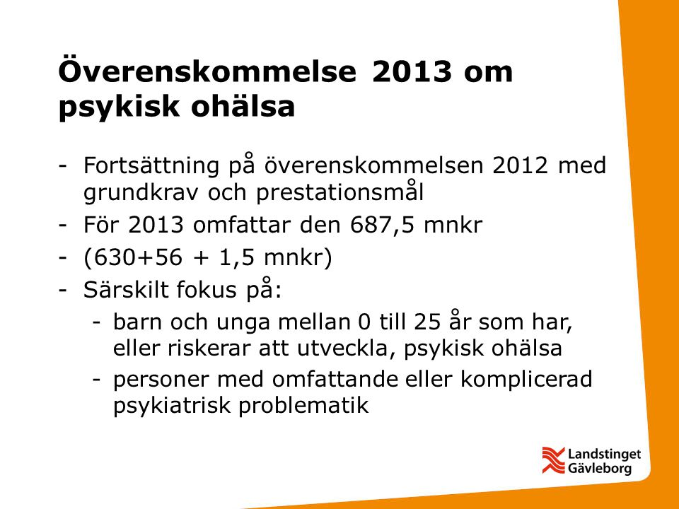 Överenskommelse 2013 om psykisk ohälsa