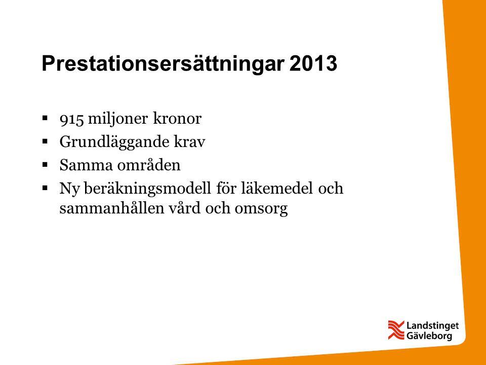 Prestationsersättningar 2013