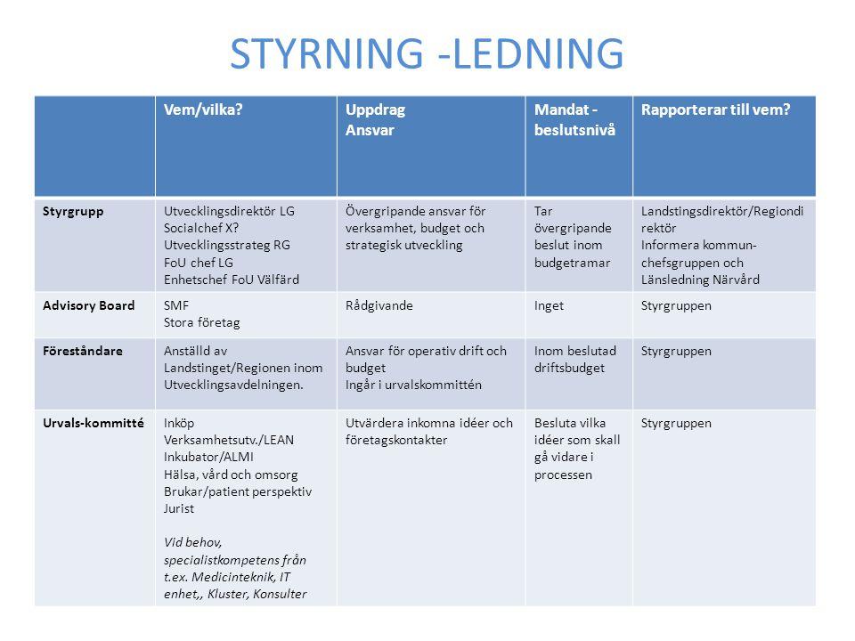STYRNING -LEDNING Vem/vilka Uppdrag Ansvar Mandat - beslutsnivå
