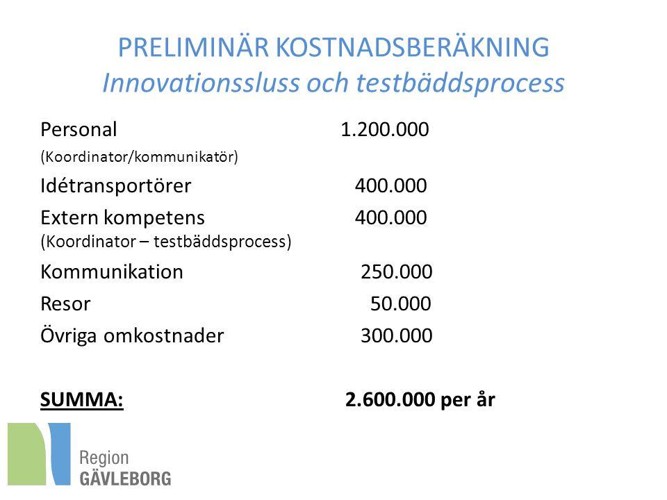 PRELIMINÄR KOSTNADSBERÄKNING Innovationssluss och testbäddsprocess