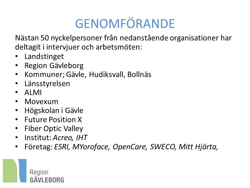 GENOMFÖRANDE Nästan 50 nyckelpersoner från nedanstående organisationer har deltagit i intervjuer och arbetsmöten: