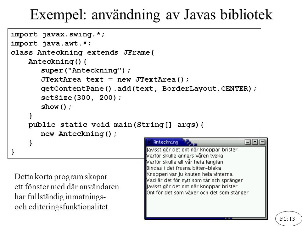 Exempel: användning av Javas bibliotek