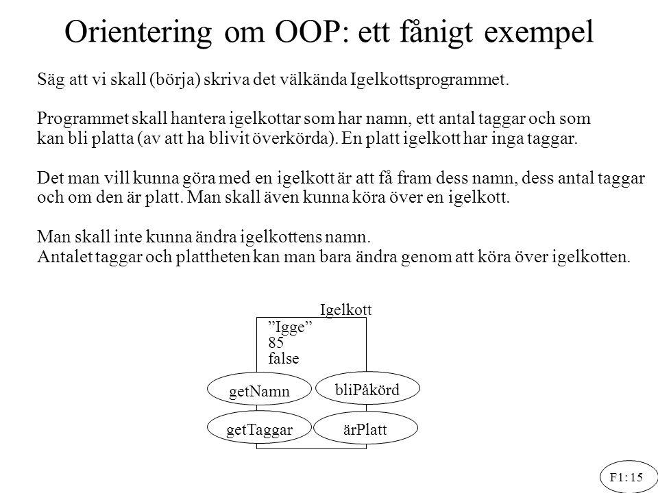 Orientering om OOP: ett fånigt exempel