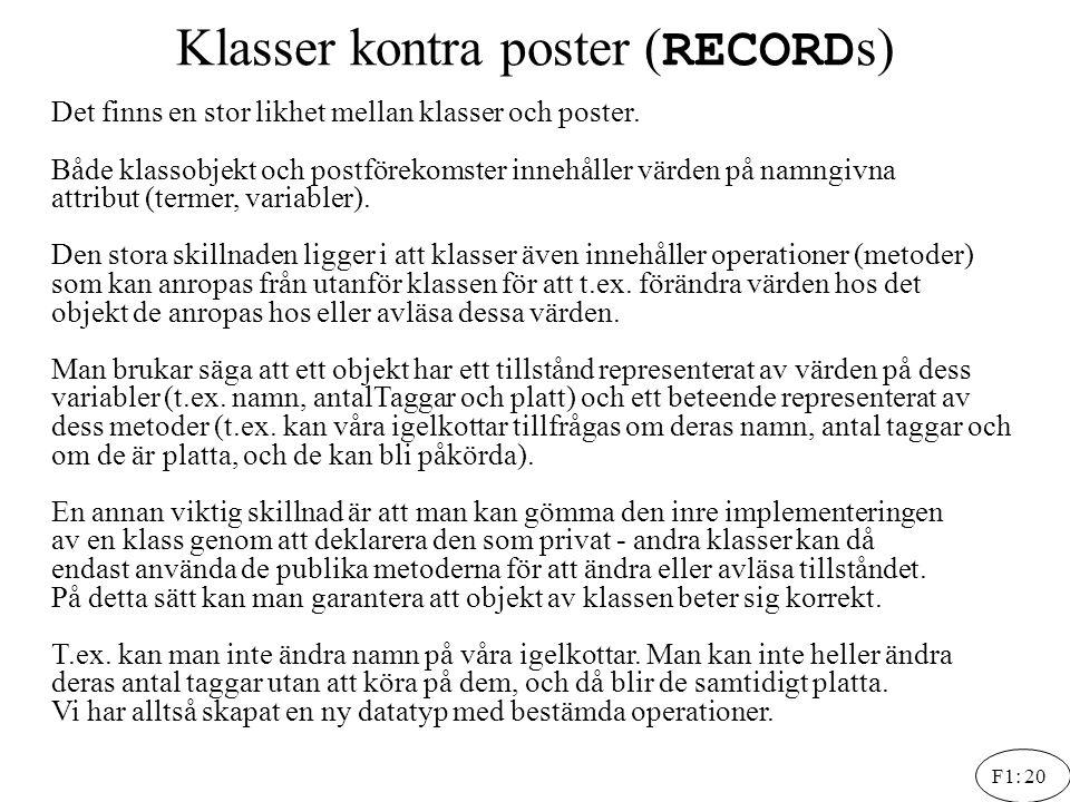 Klasser kontra poster (RECORDs)