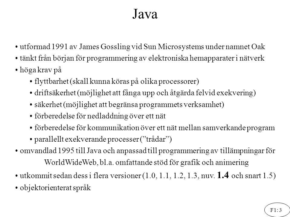 Java utformad 1991 av James Gossling vid Sun Microsystems under namnet Oak.