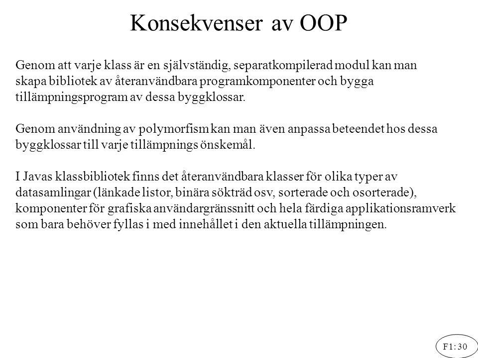 Konsekvenser av OOP