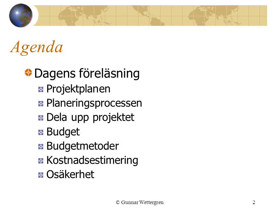 Agenda Dagens föreläsning Projektplanen Planeringsprocessen
