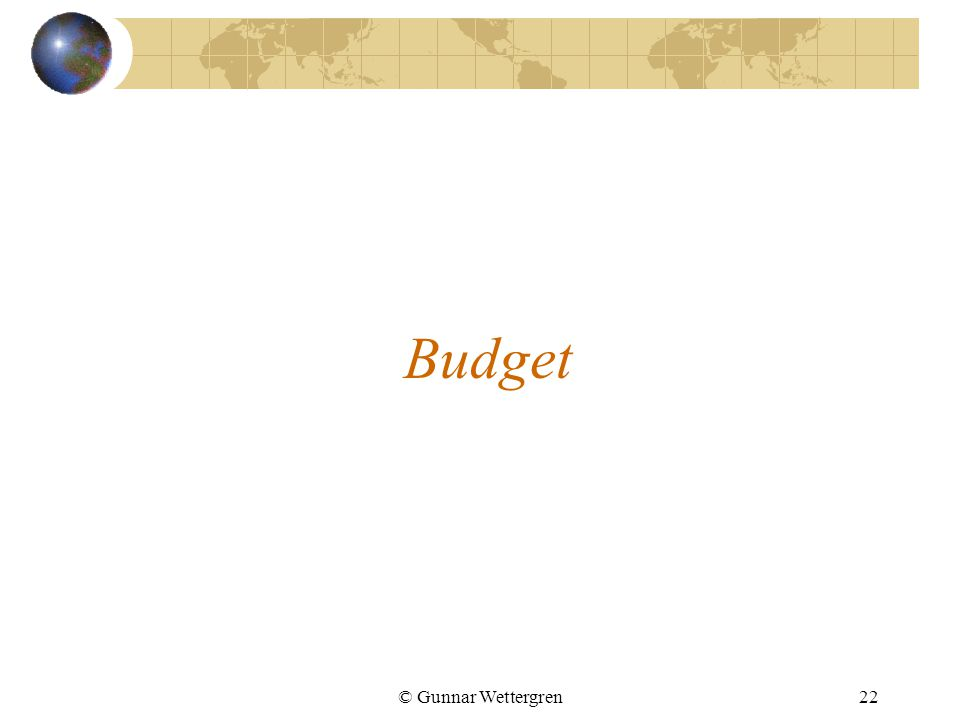 Budget © Gunnar Wettergren