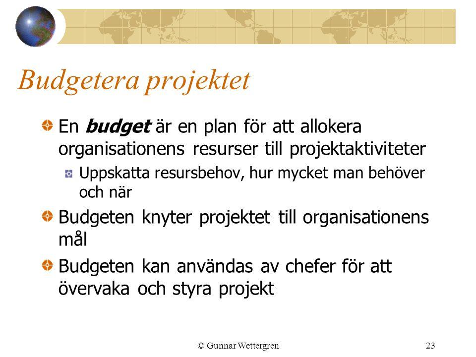 Budgetera projektet En budget är en plan för att allokera organisationens resurser till projektaktiviteter.