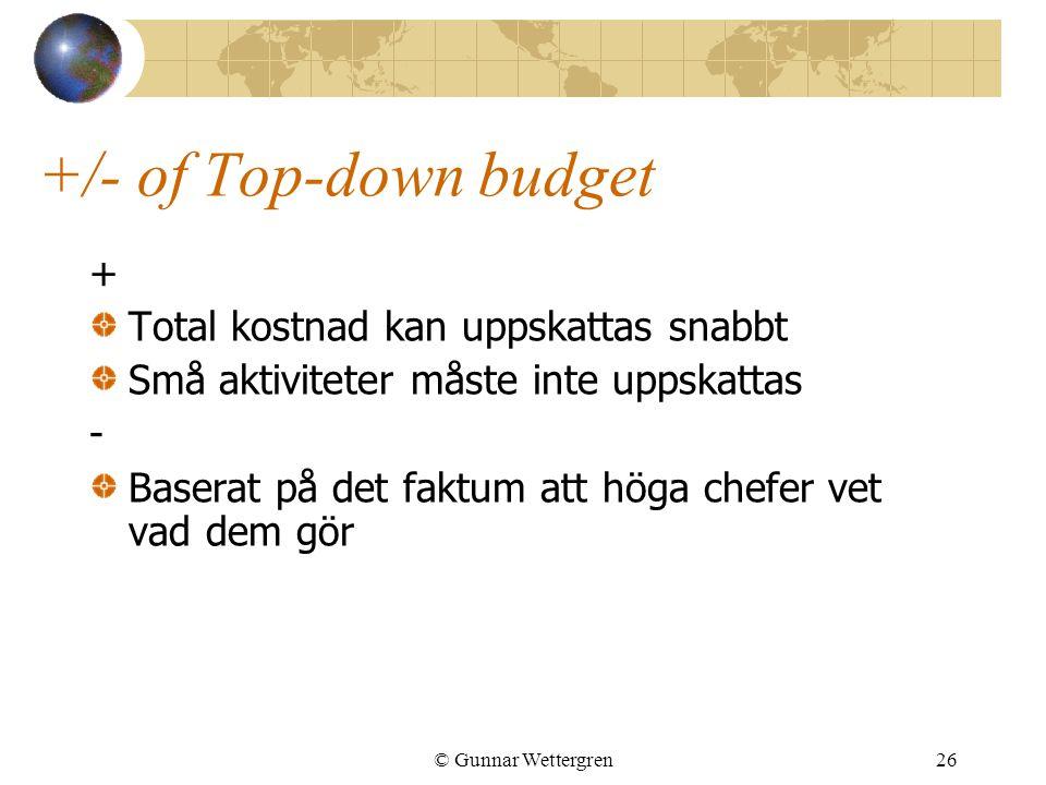 +/- of Top-down budget + Total kostnad kan uppskattas snabbt
