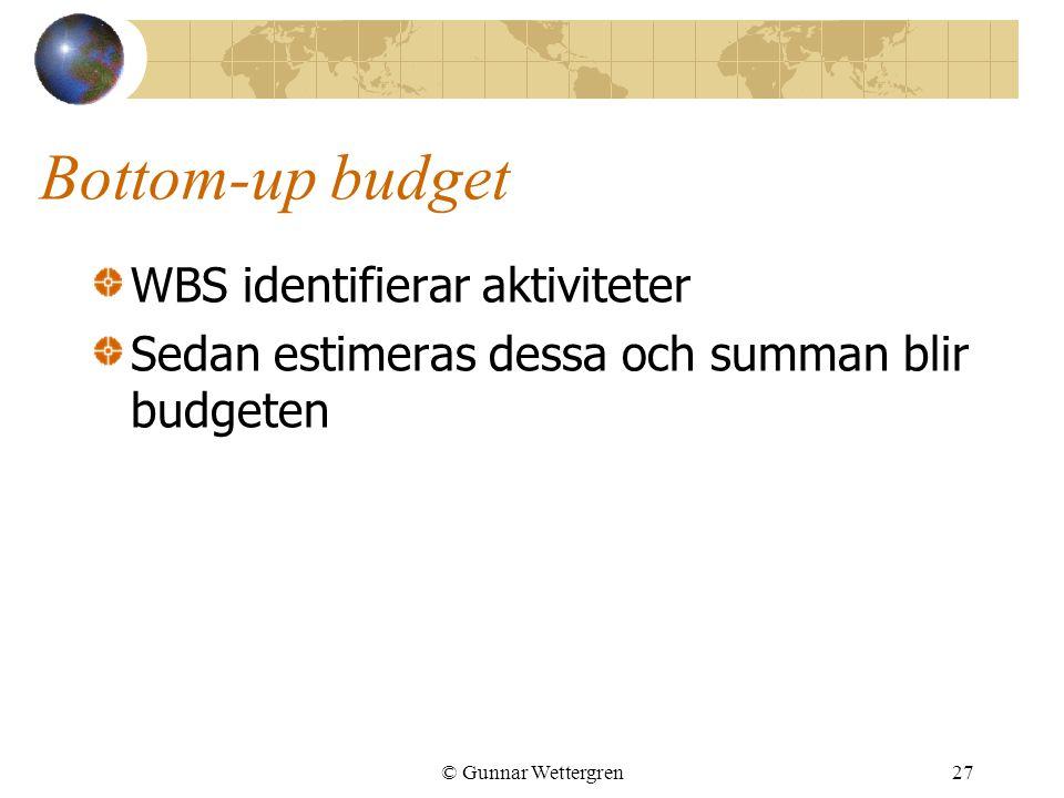 Bottom-up budget WBS identifierar aktiviteter