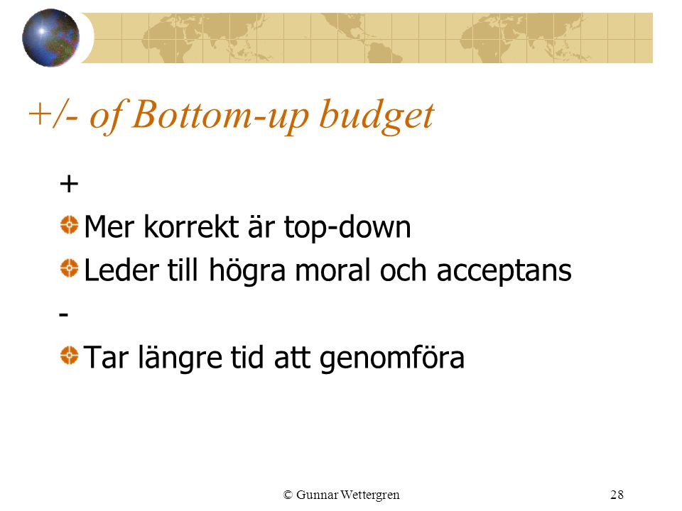 +/- of Bottom-up budget