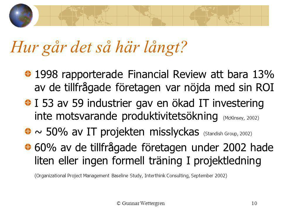 Hur går det så här långt 1998 rapporterade Financial Review att bara 13% av de tillfrågade företagen var nöjda med sin ROI.
