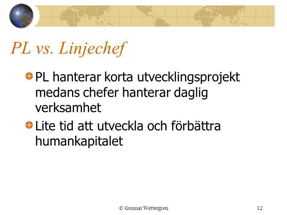 PL vs. Linjechef PL hanterar korta utvecklingsprojekt medans chefer hanterar daglig verksamhet. Lite tid att utveckla och förbättra humankapitalet.