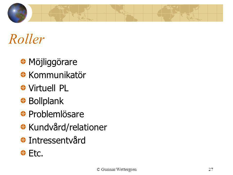 Roller Möjliggörare Kommunikatör Virtuell PL Bollplank Problemlösare