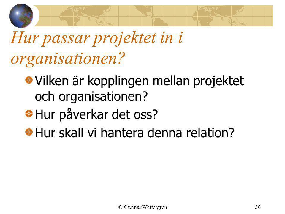 Hur passar projektet in i organisationen