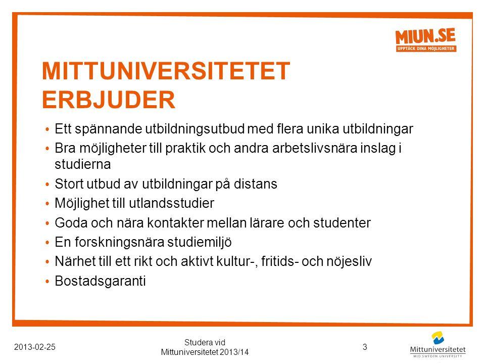 Mittuniversitetet erbjuder