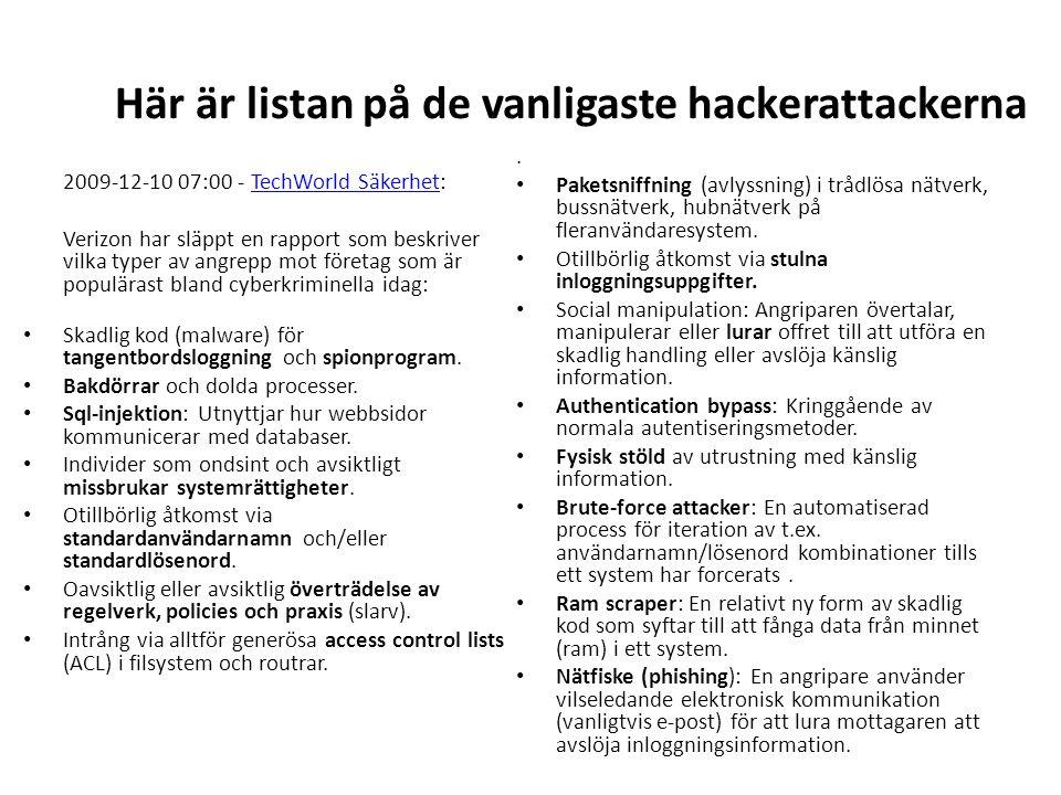Här är listan på de vanligaste hackerattackerna