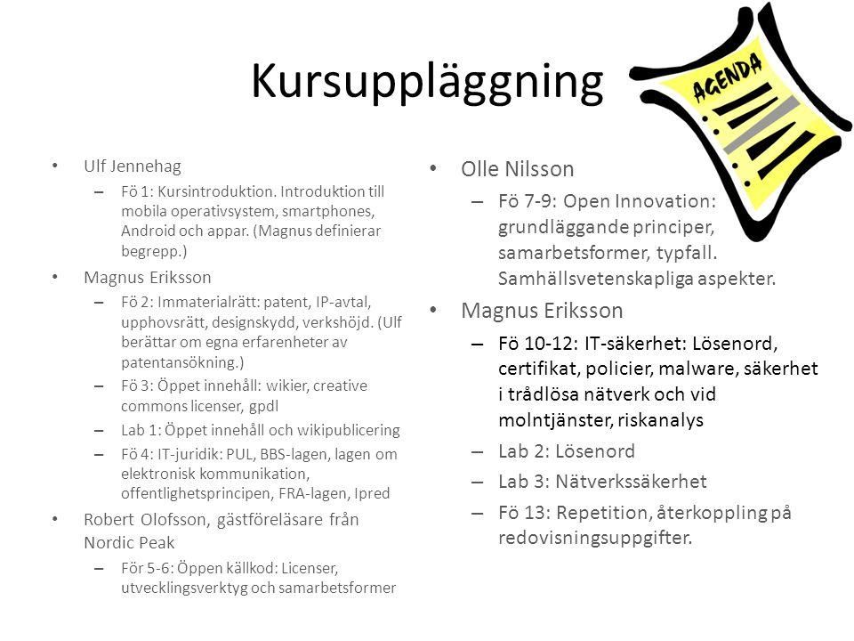 Kursuppläggning Olle Nilsson Magnus Eriksson