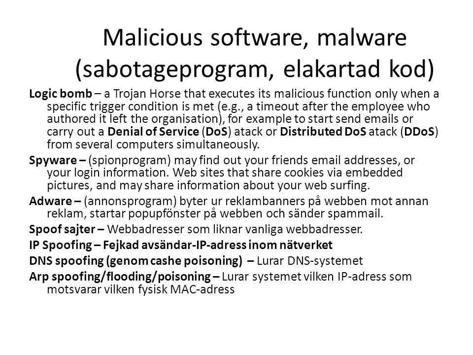 Malicious software, malware (sabotageprogram, elakartad kod)