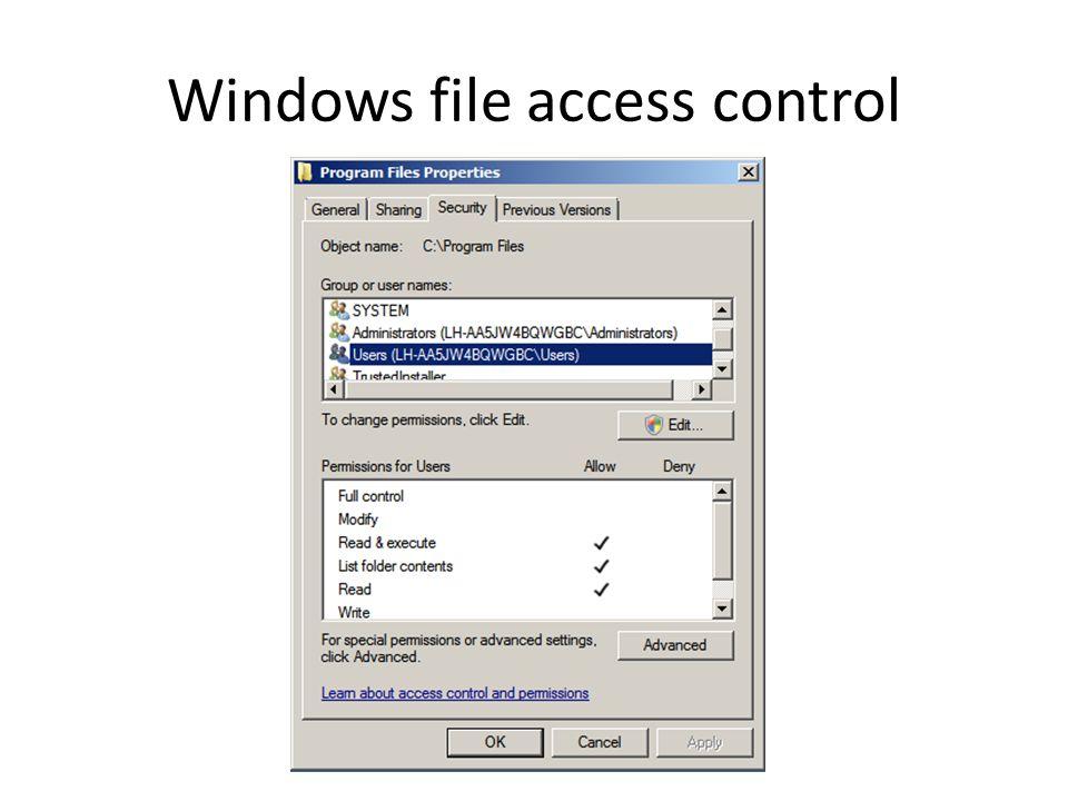 Windows file access control