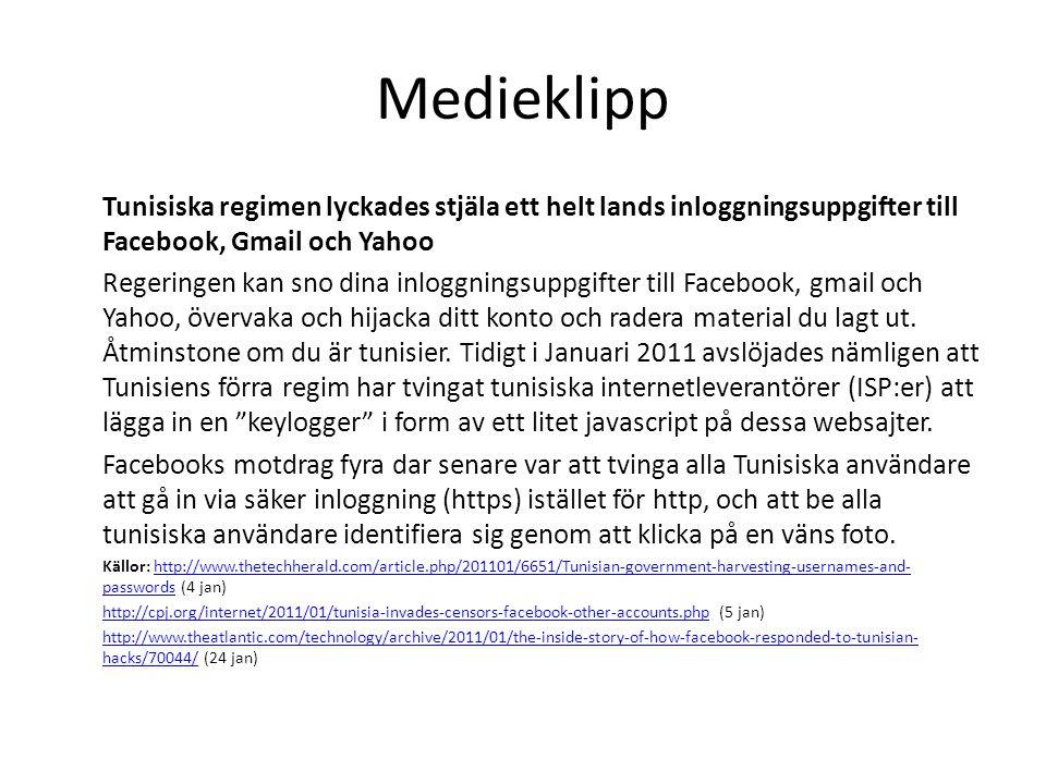 Medieklipp Tunisiska regimen lyckades stjäla ett helt lands inloggningsuppgifter till Facebook, Gmail och Yahoo.