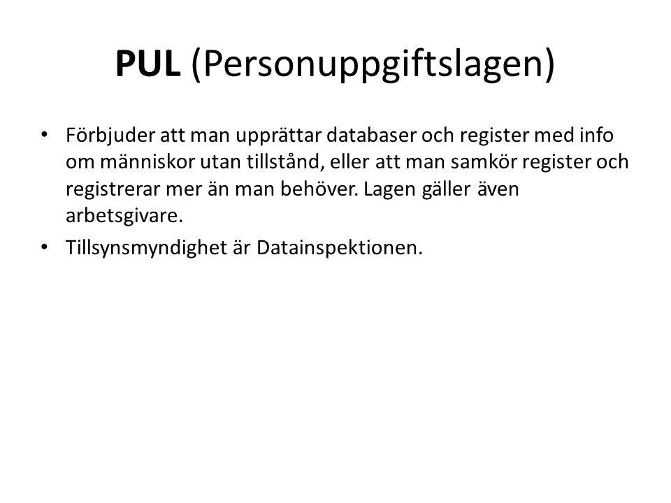 PUL (Personuppgiftslagen)