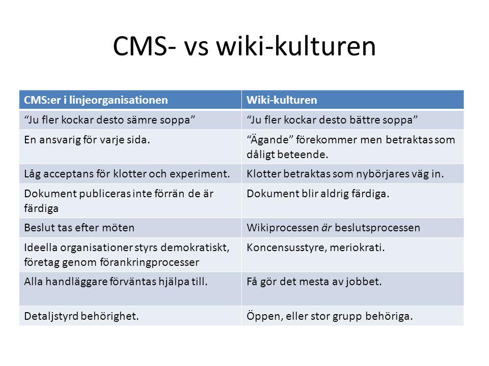 CMS- vs wiki-kulturen CMS:er i linjeorganisationen Wiki-kulturen