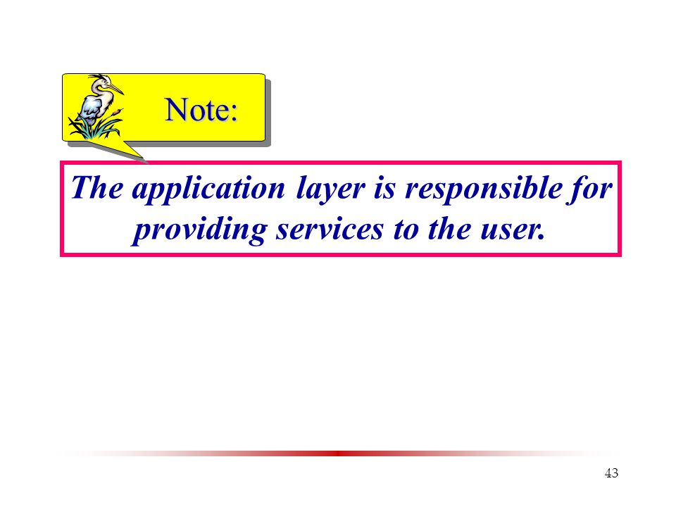 Note: The application layer is responsible for providing services to the user.