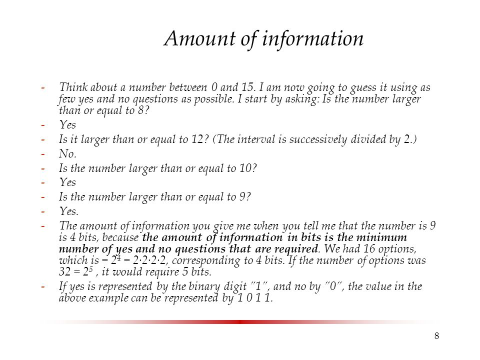 Amount of information