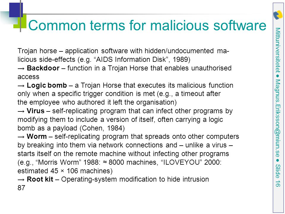 Common terms for malicious software