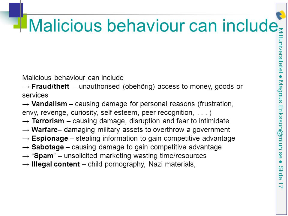 Malicious behaviour can include